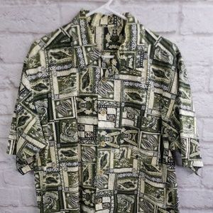 Green black and Yellow Men's Hawaiian print shirt